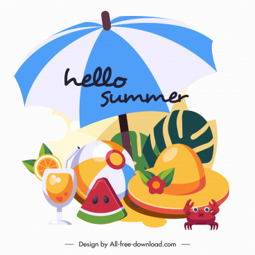 summer vacation banner beach elements sketch colorful design