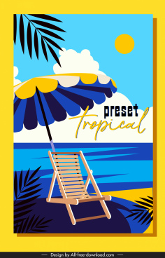 summer vacation banner beach scene sketch colorful classic