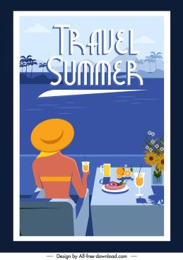 summer vacation banner bikini lady sea scene sketch