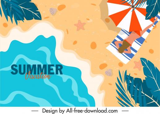 summer vacation banner flat design seaside scene sketch