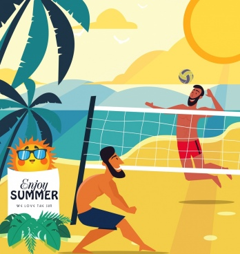summer vacation banner men playing volleyball colored cartoon