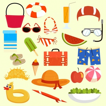 summer vacation design elements beach tour objects