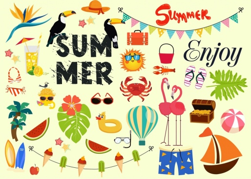 summer vacation design elements colorful icons