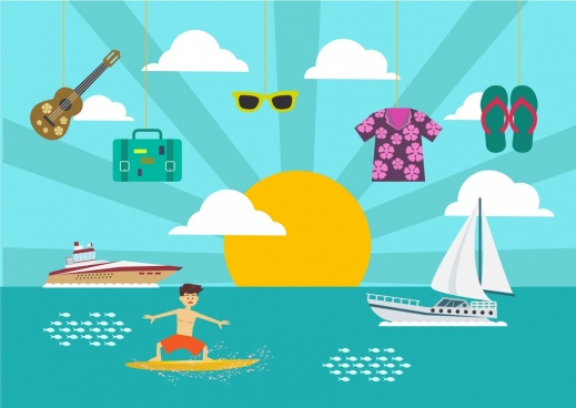 summer vacation design elements various beach icons