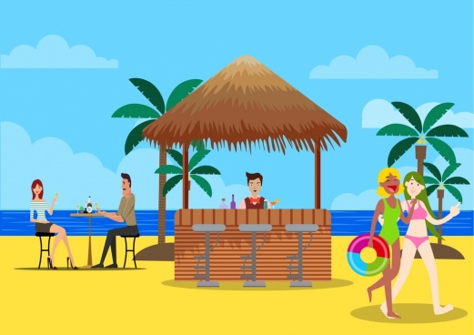 summer vacation drawing beach icon cartoon characters