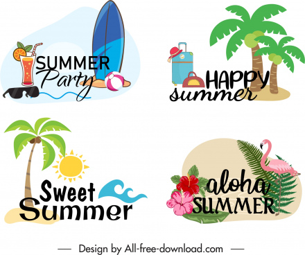 summer vacation logotypes colorful classical symbols sketch