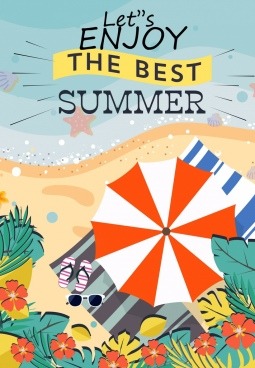 summer vacation poster seaside umbrella icons colored cartoon