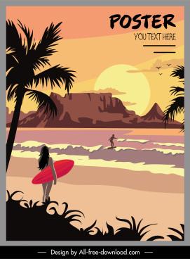 summer vacation poster sunset sea scene sketch