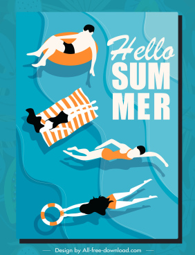 summer vacation poster swimmers sketch flat classic design