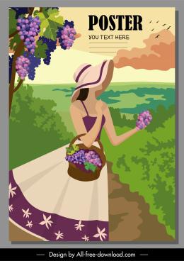 summer vacation poster young woman grapes yard sketch