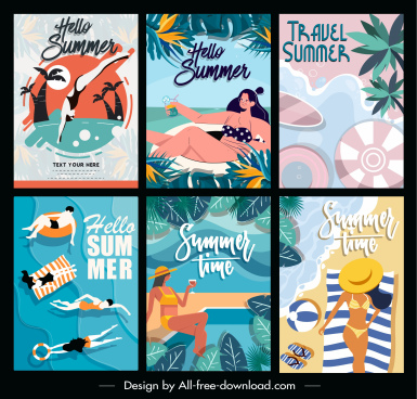 summer vacation posters beach activities colorful classic design