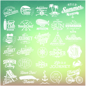 summer vacation travel labels with logos vector