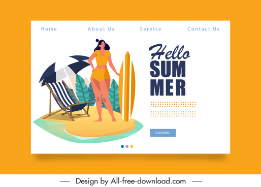summer vacation web template beach elements sketch