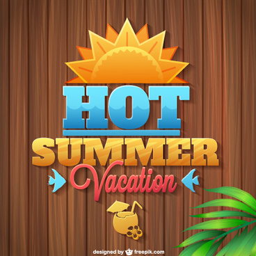summer vacation wooden background vector