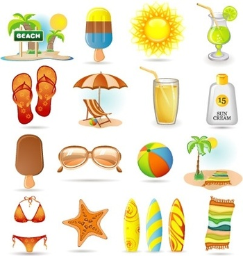 summer holidays design elements various colored symbols design