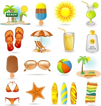 beach vacation design elements colored food utensils symbols