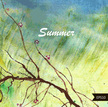 summer watercolors vector background art