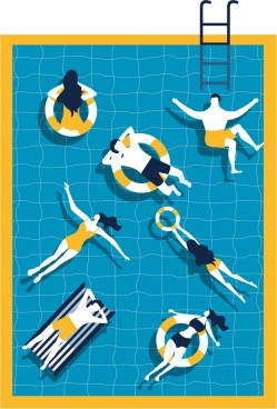 summertime backdrop relaxed people swimming pool icons