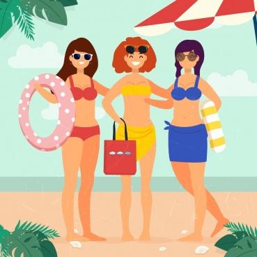 summertime background bikini women icons colored cartoon