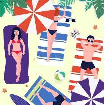 summertime background sunbathing people icon colored cartoon