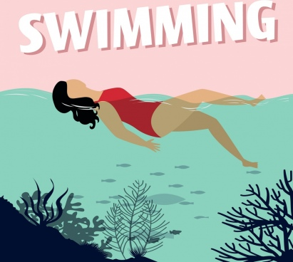 summertime background swimming woman beach icons colored cartoon