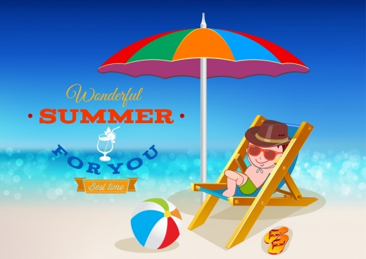 summertime banner relaxed boy beach umbrella icons