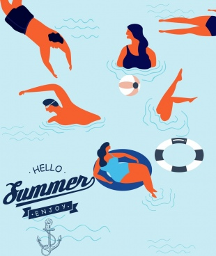 summertime banner swimming human icons colored cartoon