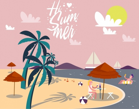 summertime banner tropical beach icon colored cartoon