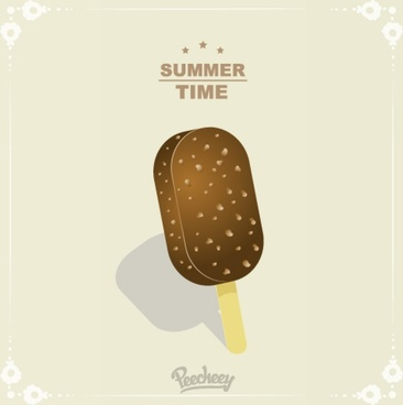 summertime poster with chocolate ice cream