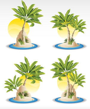 sun and tropical plants icons vector