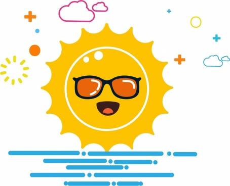 sun background cartoon stylized design
