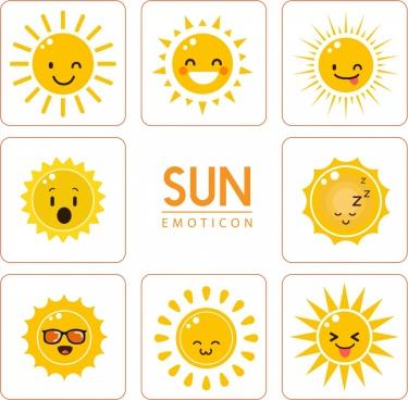 sun emoticon design elements yellow flat isolation