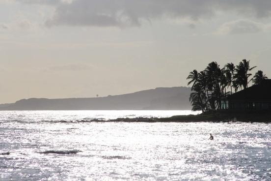 sun glistening on ocean coast