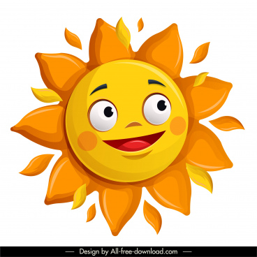 sun icon cute stylized cartoon sketch