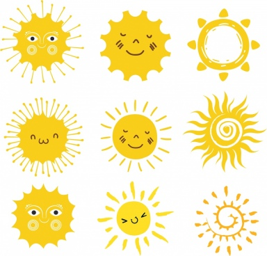 sun icons collection yellow circle decor stylized design