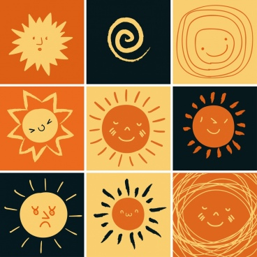 sun icons isolation cartoon hand drawn flat design