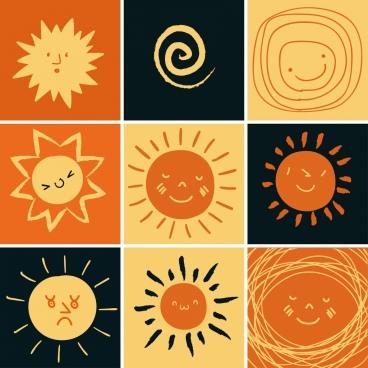 Sun icons isolation cartoon hand drawn flat design