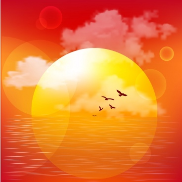 sun light on sea drawing colored bokeh design