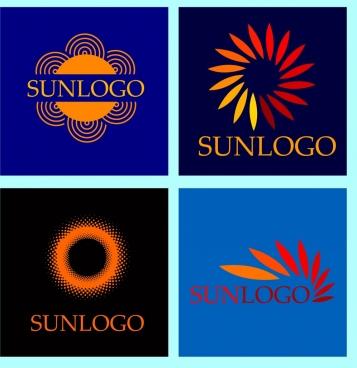 sun logo collection various flat isolation