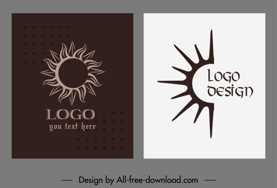 sun logo templates dark flat handdrawn sketch