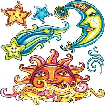sun moon and stars abstract vector illustration