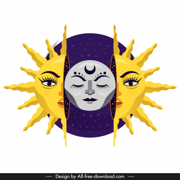 sun moon icon stylized design emotional faces decor