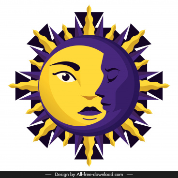 sun moon icon stylized faces yellow violet decor