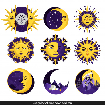 sun moon icons stylized legendary sketch