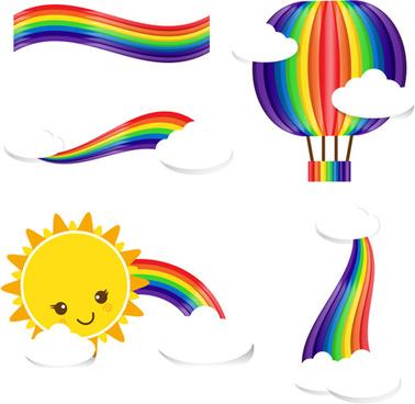 sun rain bow cloud vector illustration