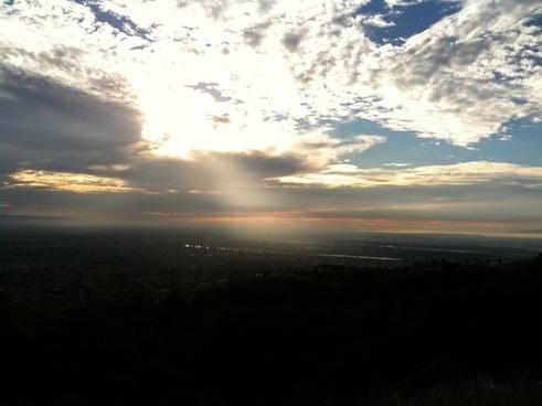 sun ray shining through clouds onto land