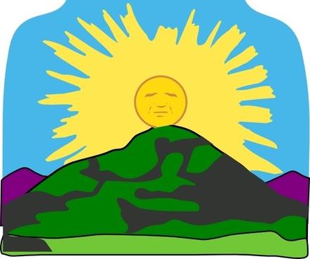 Sun Rays Mountain clip art