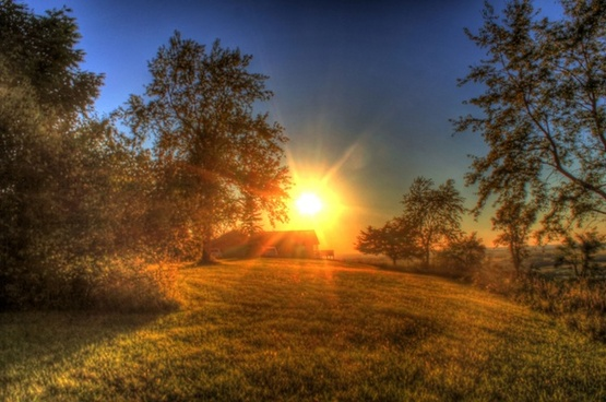 sun setting at charles mound illinois