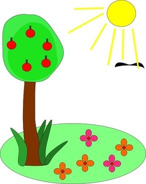 Sun Tree Flowers clip art