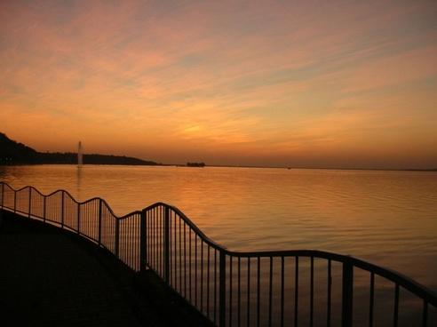 sundown over lake